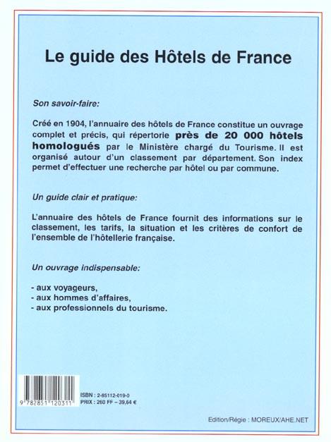 Les hotels de france 2001