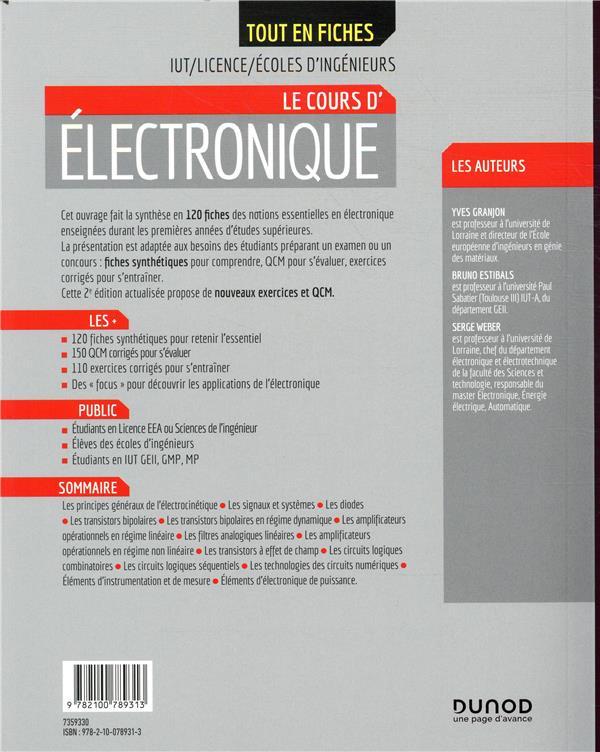 électronique ; IUT, licence, écoles d'ingénieurs ; tout le cours en fiches (2e édition)