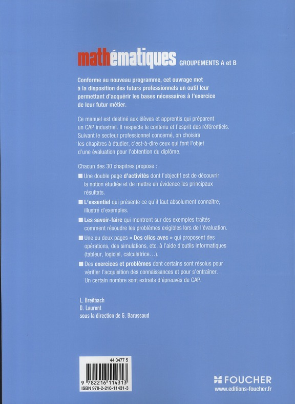 Mathématiques groupement A et B ; CAP industriels ; manuel
