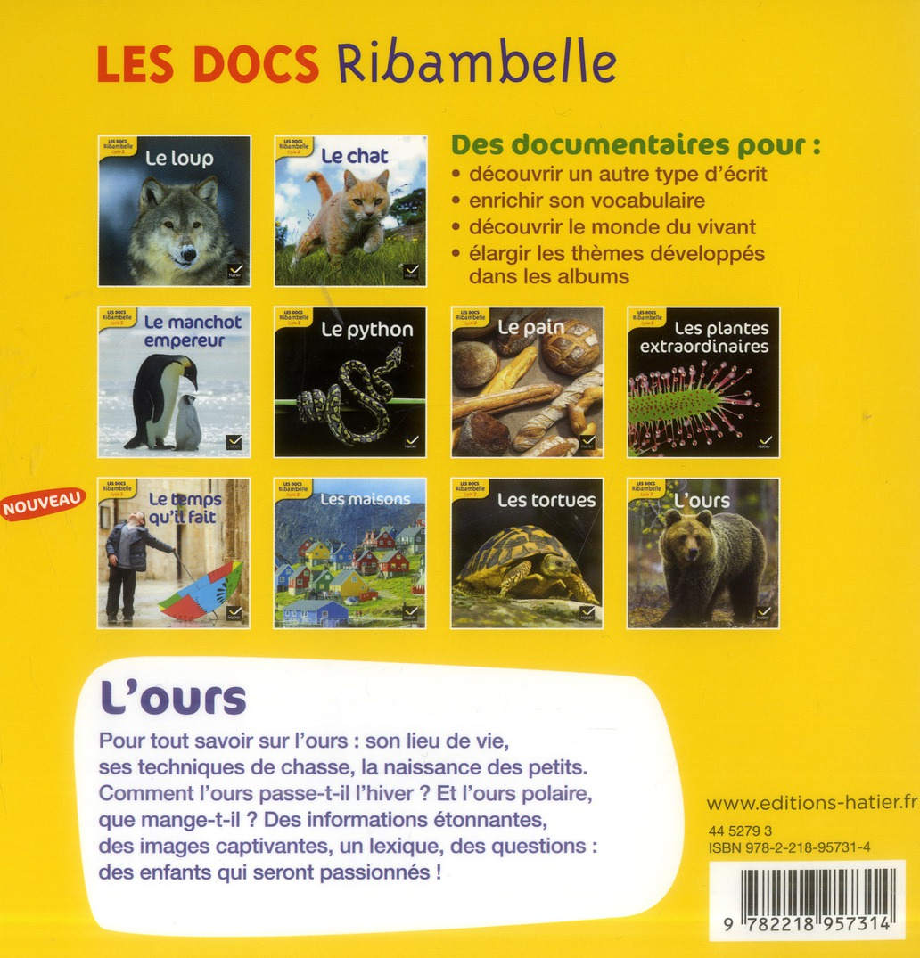 LES DOCS RIBAMBELLE ; l'ours ; cycle 2