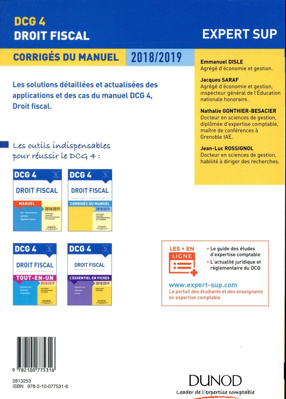 DCG 4 ; droit fiscal (édition 2018/2019)