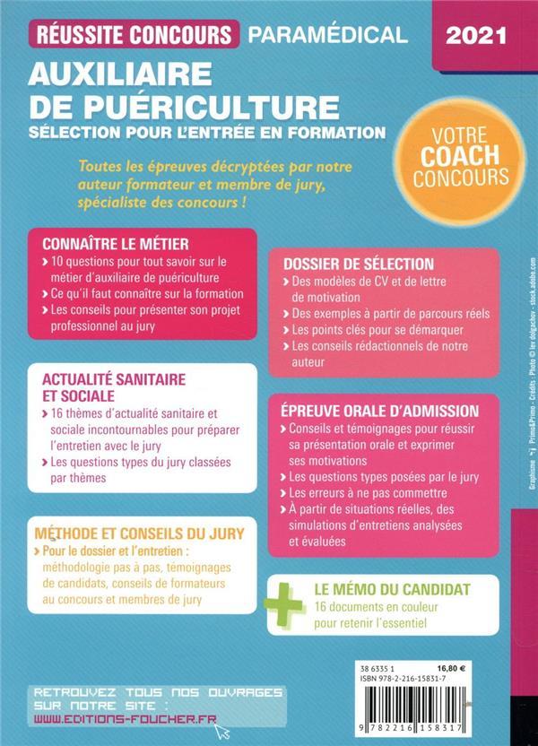 Réussite concours ; auxiliaire de puériculture ; sélection pour l'entrée en formation ; tout-en-un (édition 2021)
