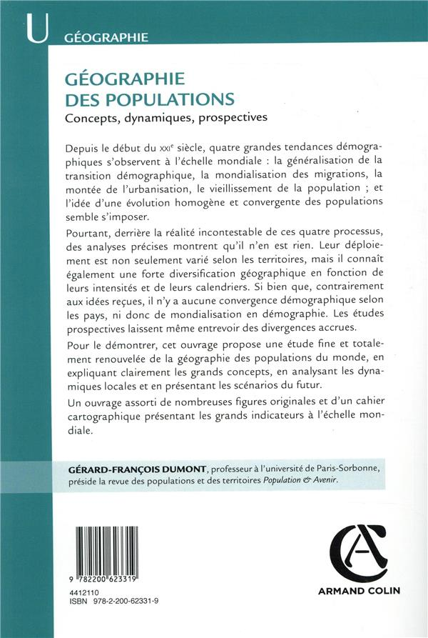 Géographie des populations ; concepts, dynamiques, prospectives