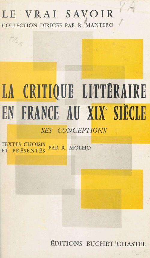 La critique littéraire en France au XIXe siècle