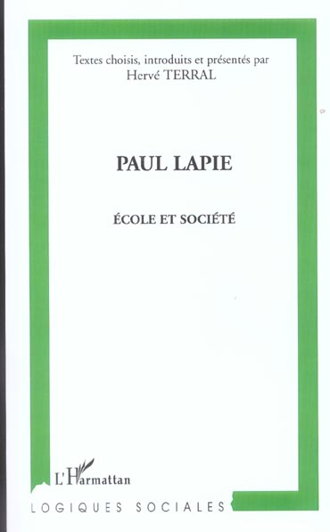 Paul lapie - ecole et societe