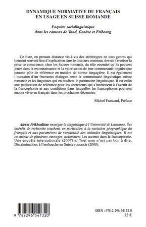 Dynamique normative du français en usage en Suisse romande ; enquête sociolinguistique