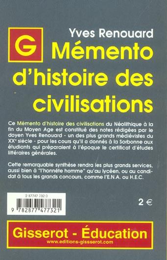 Memento d'histoire des civilisations - du neolithique a la fin du moyen age