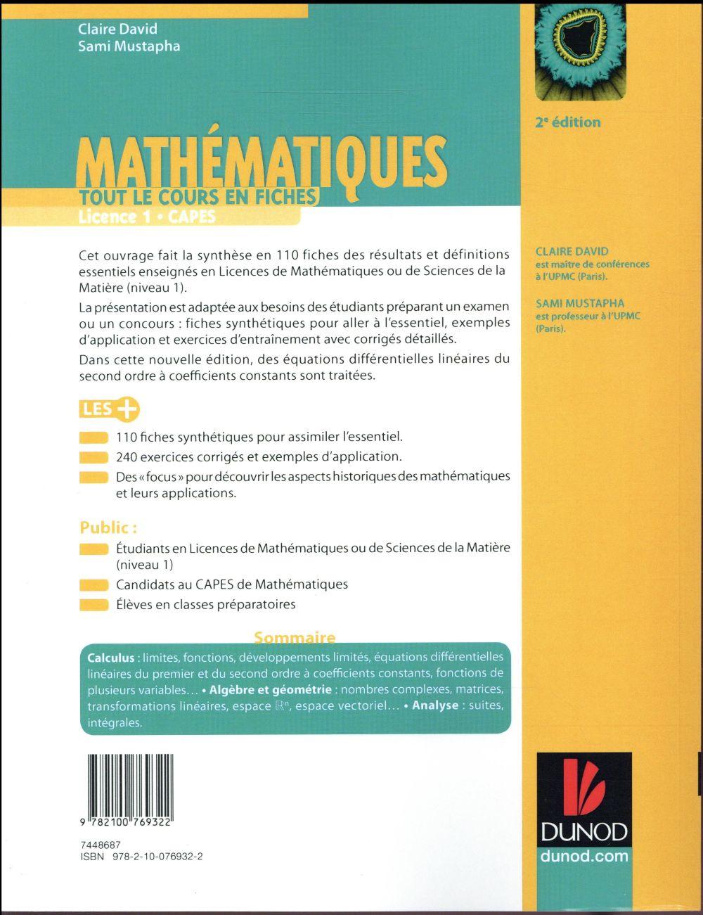 Mathématiques ; tout le cours en fiches ; licence, capes, prépas (2e édition)