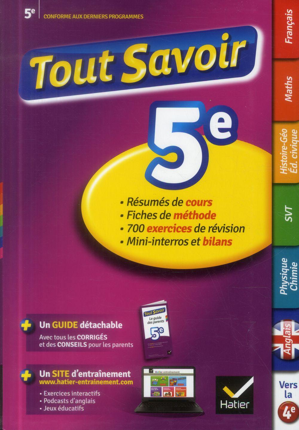 Tout Savoir 5eme Toutes Les Matieres Collectif Hatier Grand Format Librairie Autrement St Denis