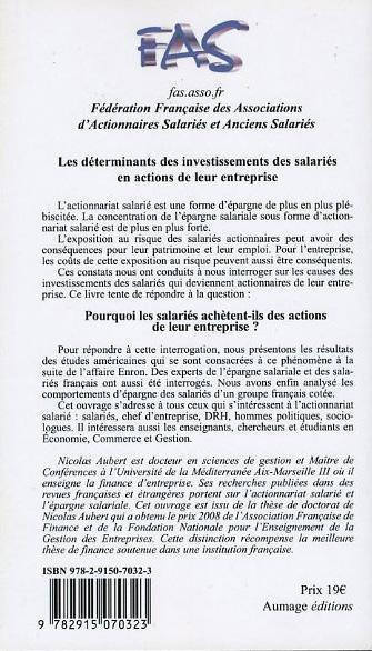L'actionnariat salarié ; devenir actionnaire salarié ; les déterminants des investissements des salariés en actions de leur entreprise