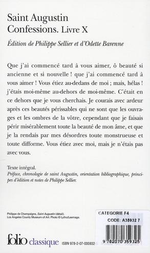confessions ; livre X