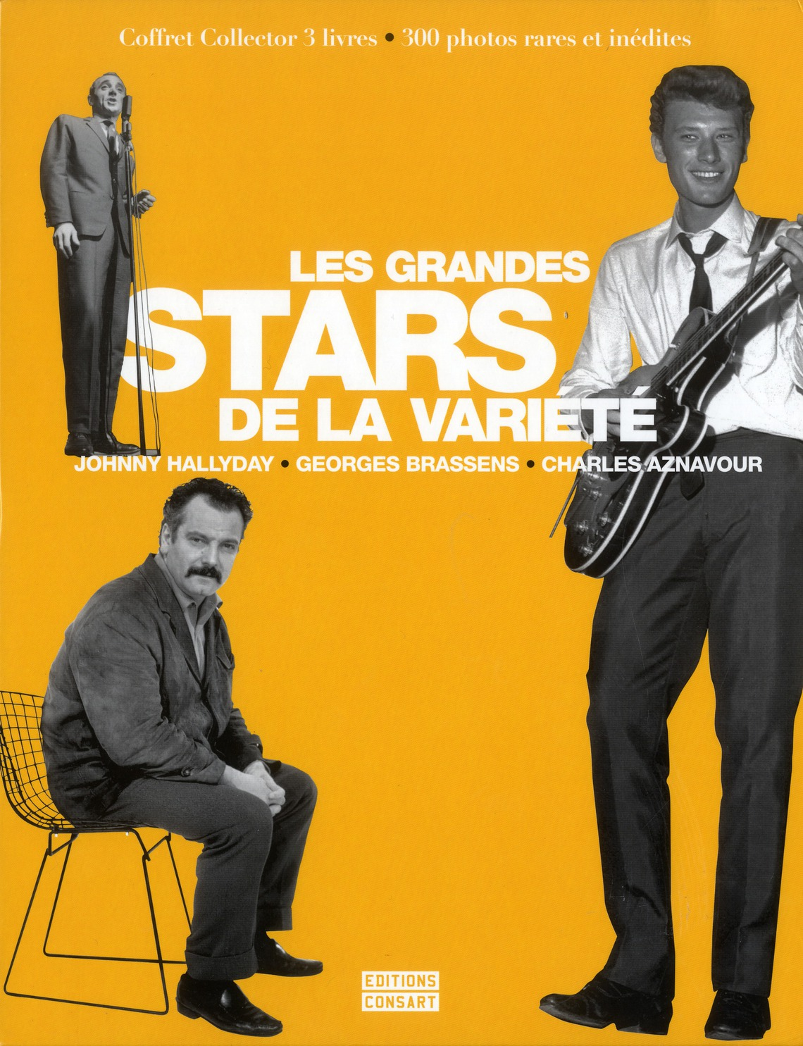 Les grandes stars de la variété ; Johnny Hallyday, Claude François, Charles Aznavour
