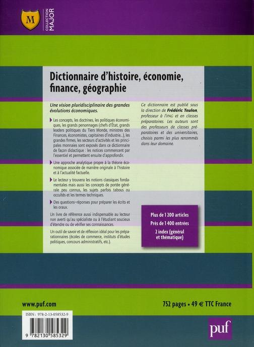 dictionnaire d'histoire, économie, finance, géographie (6e édition)