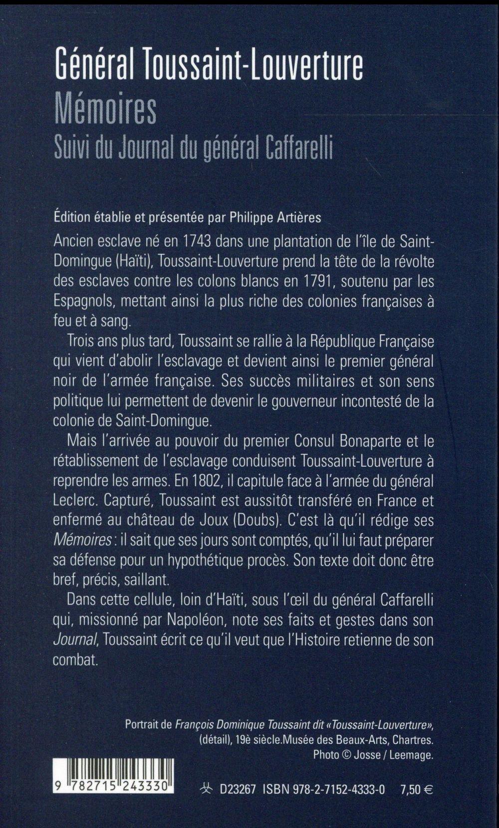 Toussaint-Louverture, mémoires ; journal du général Caffarelli