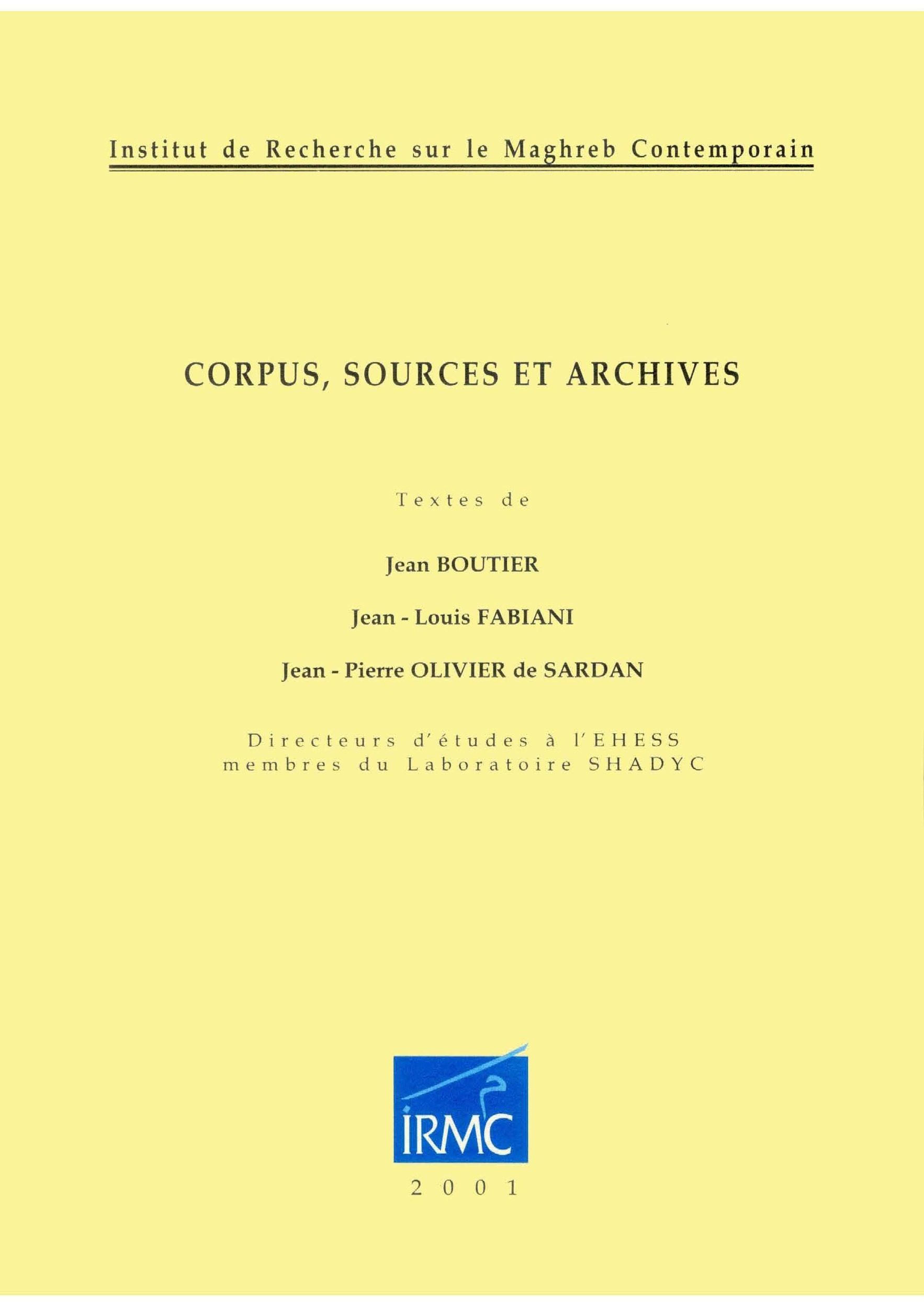 Corpus, sources et archives