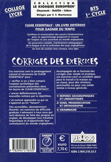 Clear essentials ; anglais ; secondaire/BTS/1er cycle ; corrigés des cahiers d'exercices