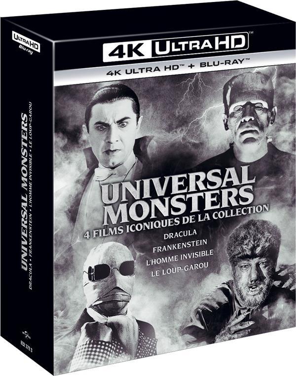 Coffret Monstres : Dracula + L'Homme invisible + Frankenstein + Le Loup-garou