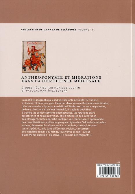 Anthroponymie et migrations dans la chrétienté medievale