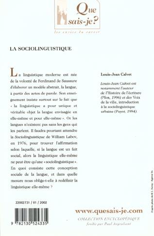 Sociolinguistique (4e ed) (la)
