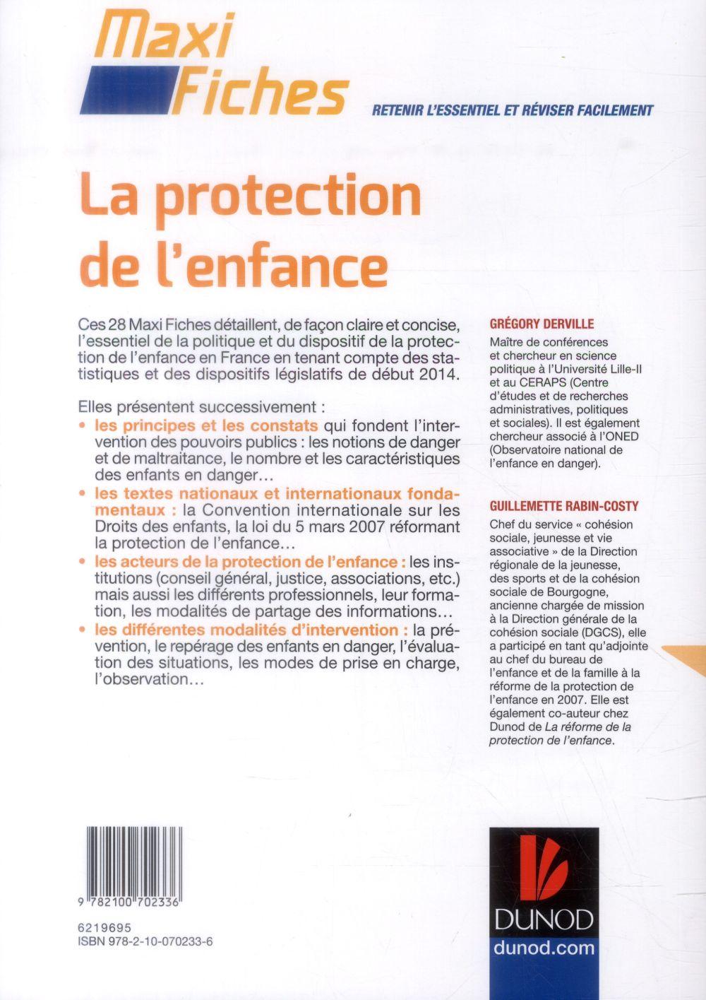 Maxi fiches ; la protection de l'enfance (3e édition)