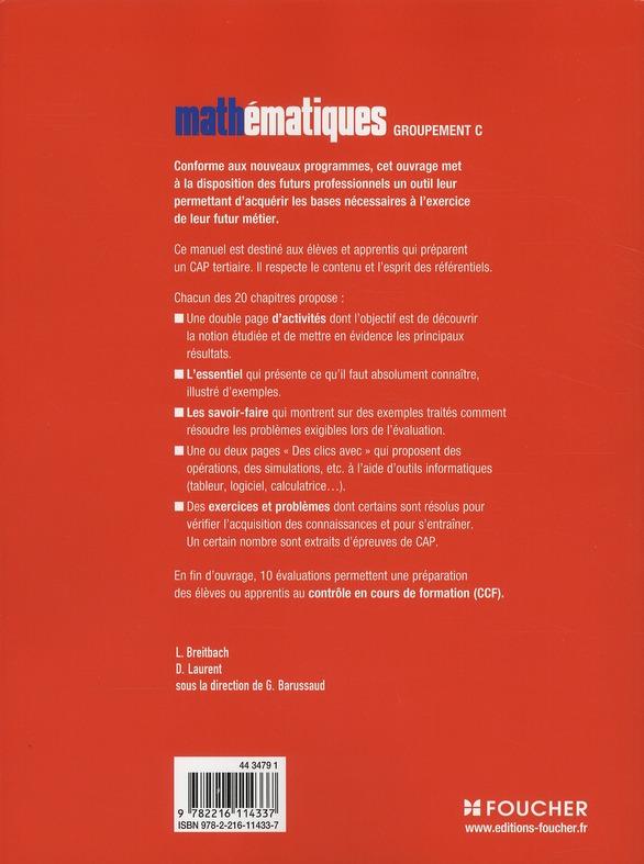 Mathématiques groupement C ; CAP tertiaires ; manuel (édition 2010)