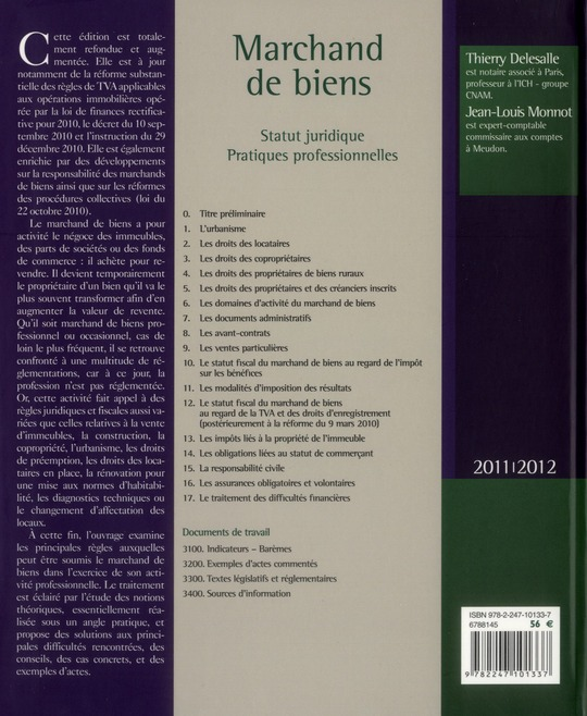 Marchand de biens ; statut juridique ; pratiques professionnelles (édition 2011/2012)