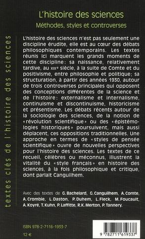 l'histoire des sciences ; méthodes, styles et controverses
