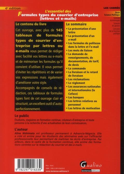 L'essentiel des formules types du courrier d'entreprise (4e édition)