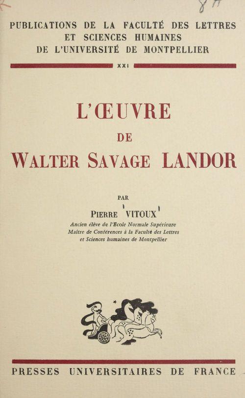 L'oeuvre de Walter Savage Landor