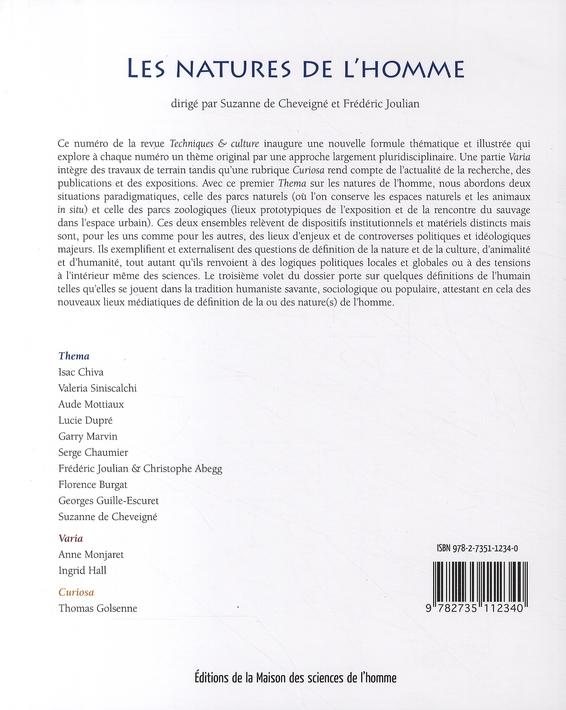 Revue techniques et cultures t.50 ; les natures de l'homme