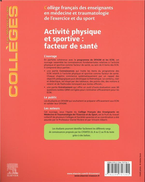 Activité physique et sportive : facteur de santé ; réussir ses ECNi ; le cours officiel + entraînements types corrigés