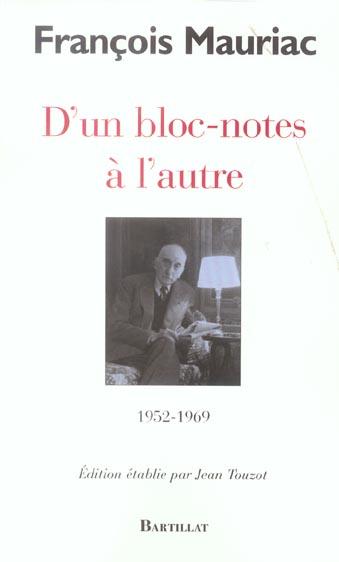 D'un bloc-notes à l'autre ; 1952-1969