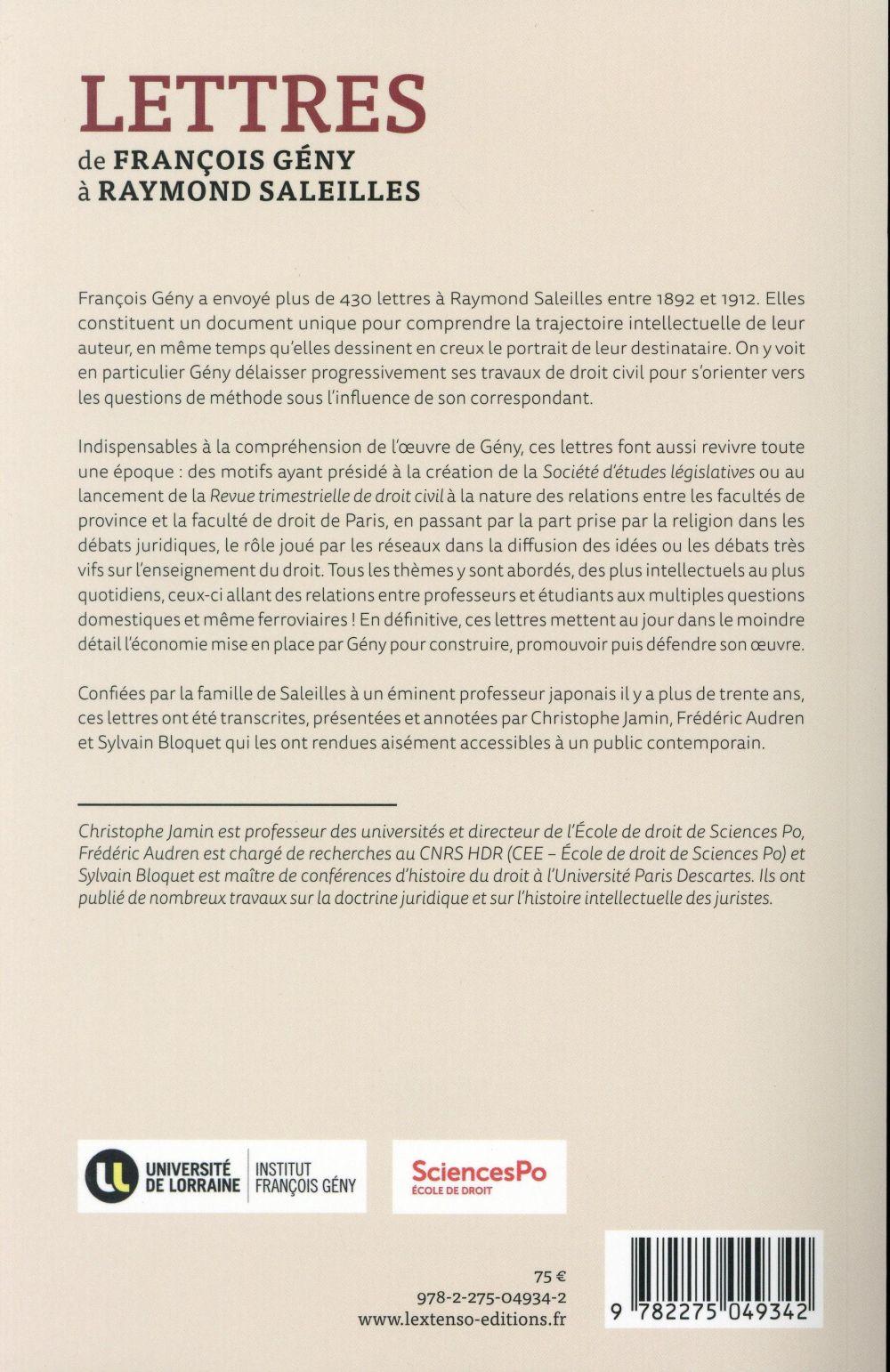 Lettres de François Geny à Raymond Saleilles ; une trajectoire intellectuelle, 1892-1912