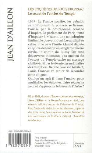 les enquêtes de Louis Fronsac t.9 ; le secret de l'enclos du temple