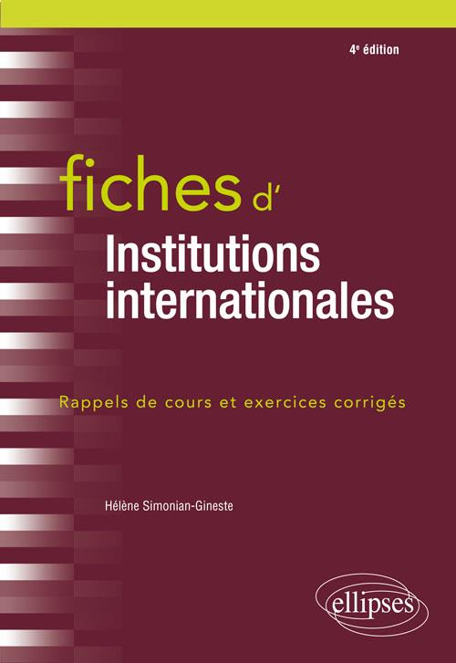 Fiches d'institutions internationales (4e édition)