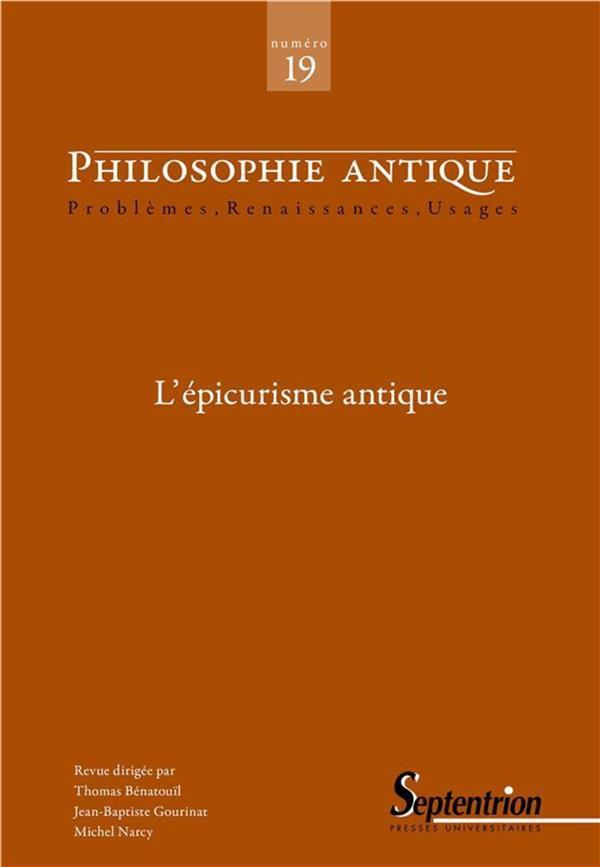 Philosophie antique n.19 ; l'epicurisme antique