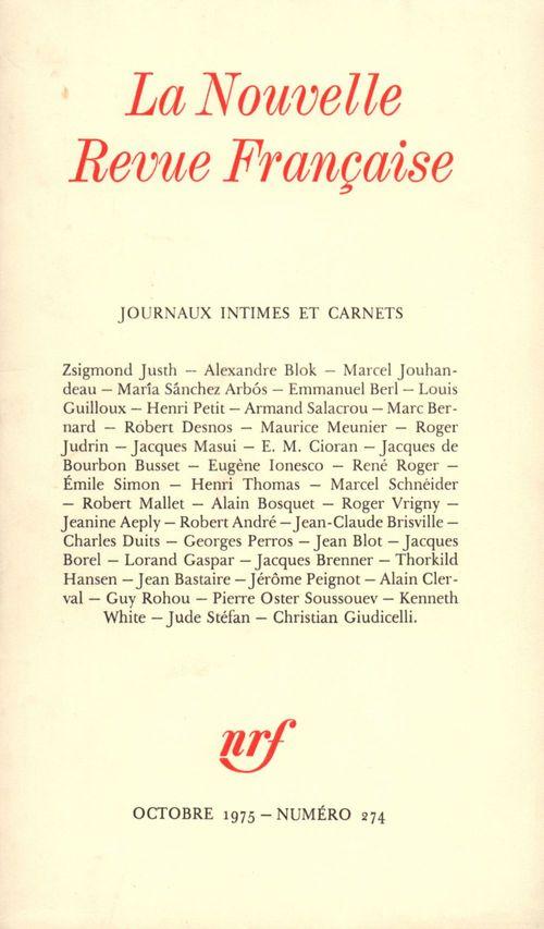 Journaux intimes et Carnets N° 274  - Collectifs  - Collectifs Gallimard