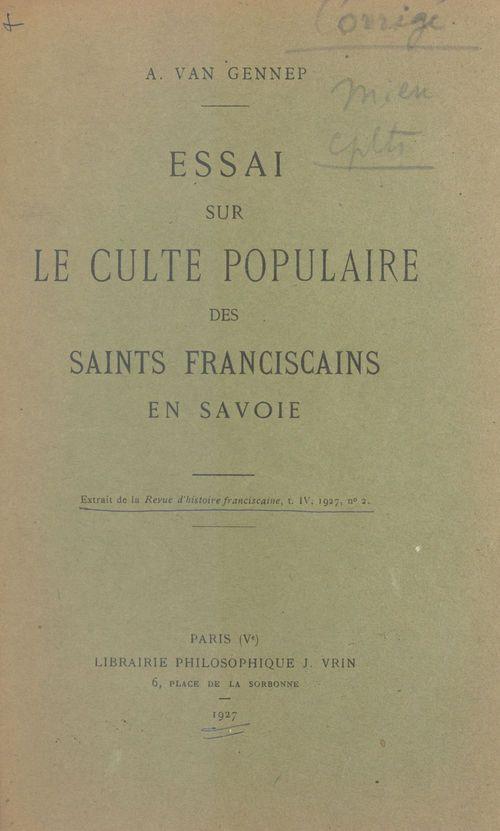 Essai sur le culte populaire des saints franciscains en Savoie