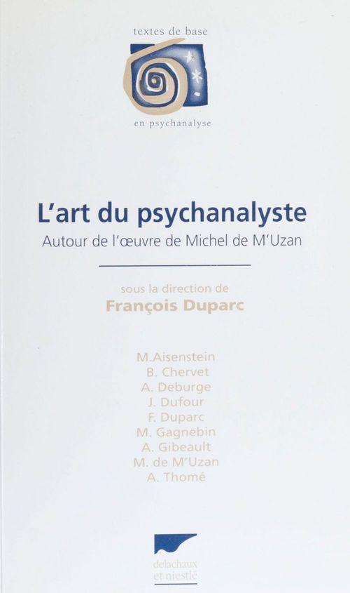 Art du psychanalyste (l') - tdb