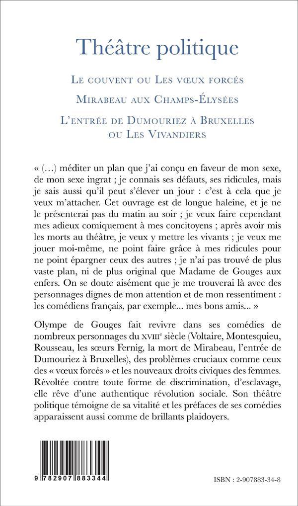 Theatre politique (tome 1) - le couvent ou les voeux forces, mirabeau aux champs-elysees, l'entree d