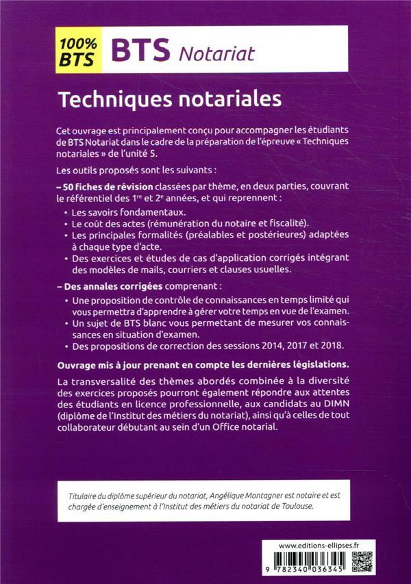 Techniques notariales ; BTS notariat ; épreuves E5, programmes de 1re et 2e année (3e édition)