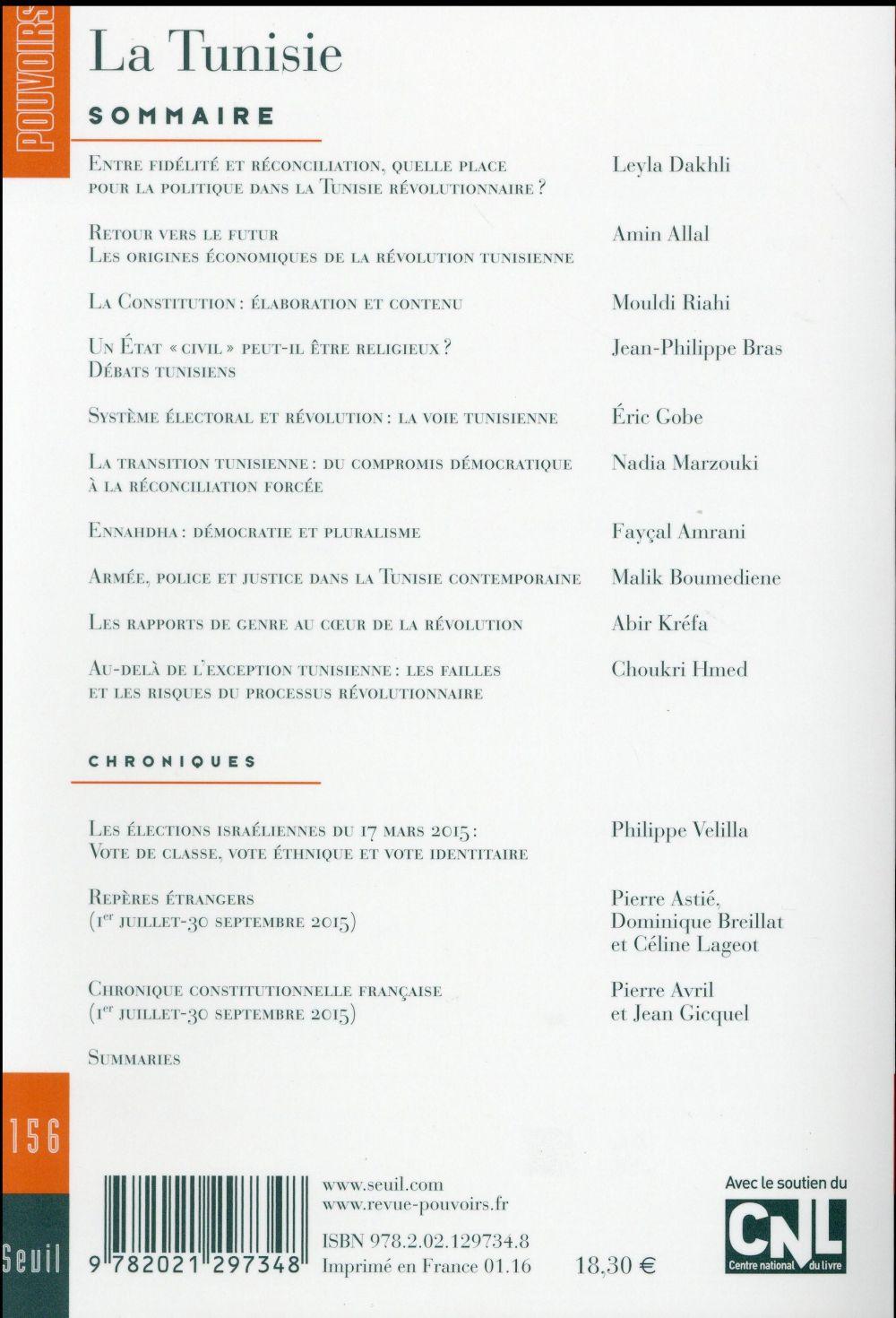 Revue pouvoirs t.156 ; la tunisie