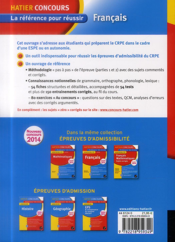 Français t.1 ; épreuve d'admissibilité ; CRPE professeur des écoles ; concours 2014