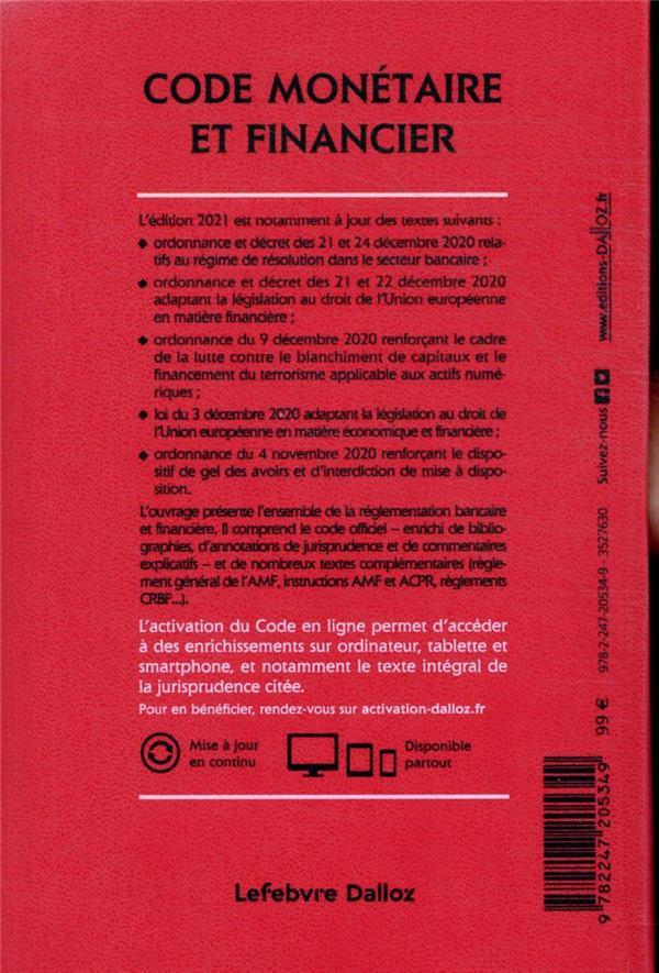 code monétaire et financier, annoté & commenté (édition 2021)
