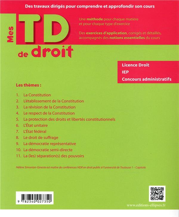 Mes TD de droit ; introduction au droit public (édition 2018)