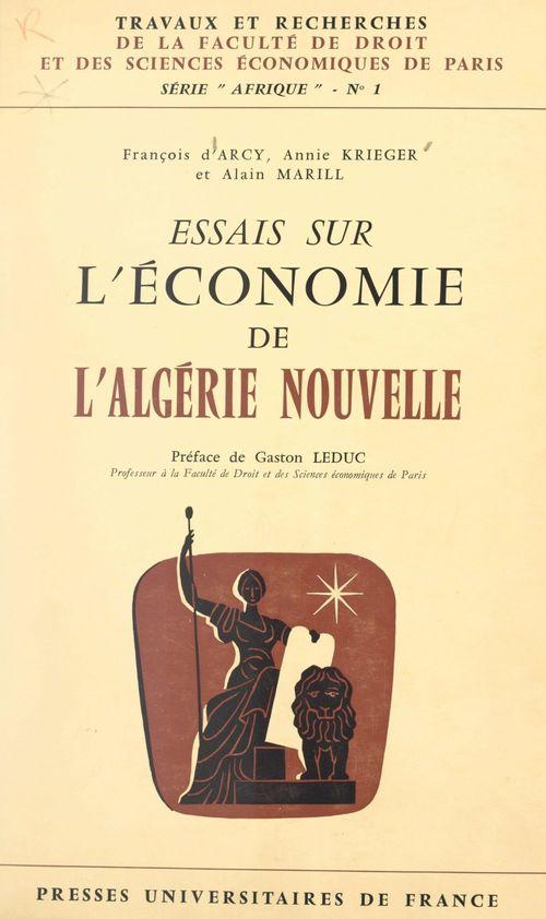Essais sur l'économie de l'Algérie nouvelle