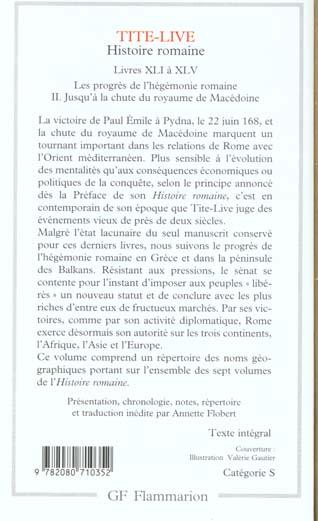 Histoire romaine ; livres XLI à XLV ; les progrès de l'hégémonie romaine t.2