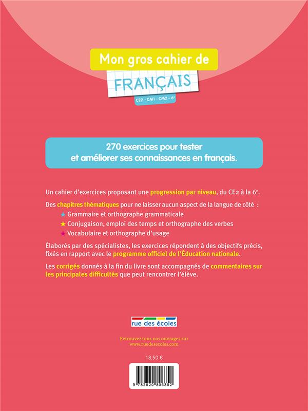 De Francais Ce2 Cm1 Cm2 6e 270 Exercices Pour S Entrainer Et Mieux Maitriser Le Francais Grammaire Orthographe Conjugaison Vocabulaire Roland Eluerd Rue Des Ecoles Grand Format