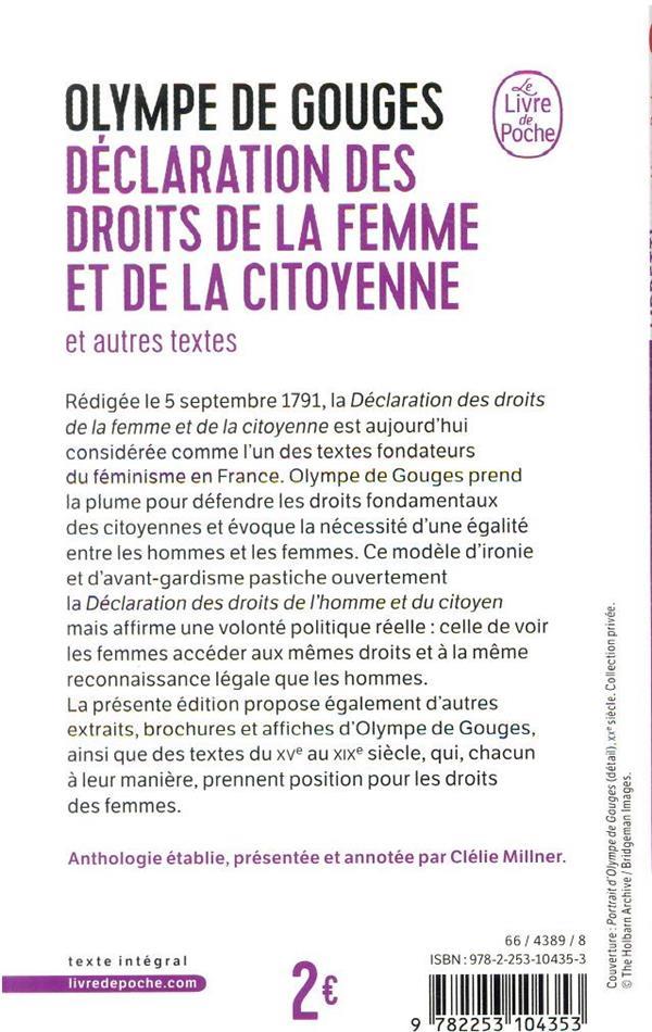 Déclaration des droits de la femme et de la citoyenne et autres textes