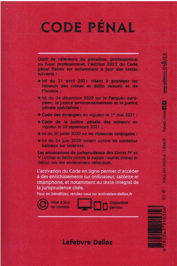 code pénal annoté (édition 2022)